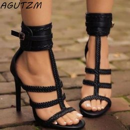 woman black sandals pu stiletto heels NZ - Sexy PU Women Sandals Thin High Heels 11 CM Gladiator Bandage Cross Tied Fashion Summer Party Femme Shoes