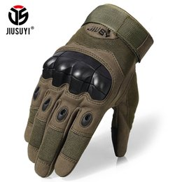 Full Finger Paintball Gloves Canada - Touch Screen Anti-Skid Tactical Rubber Hard Knuckle Full Finger Gloves Army Paintball Shooting Combat Work Gear