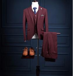 Custom Tweed Suit NZ - Latest Coat Pant Designs Burgundy Tweed Men Suits Formal Custom Groom Tuxedo 3 Pieces Blazer Slim Fit Jacket Men Masculino