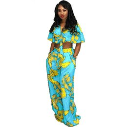 Matching Tie UK - Women Outfits Plus Size Sexy Two Piece Set Floral Print Bow Tie Tops Wide Leg Pants Suits Casual Matching Sets