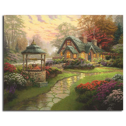 make art frames NZ - Thomas Kinkade Make A Wish Cottage Free Shipping,Hand-painted & HD Print Landscape Art oil painting On Canvas Home Decor Wall Art l188