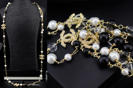 Gold necklace boxes pearls online shopping - Top Quality Celebrity design Letter Flowers Pearl Chain necklace Fashion Metal Letter diamond necklace Jewelry With Box