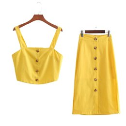 Chinese  Summer Yellow Cotton Linen Vacation 2 Pieces Set Sexy Camisole Crop Tops Tees High Waist Button Down A Line Skirt Rave Festival manufacturers