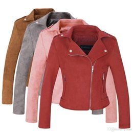 d605dd64a3d96 Wholesale-2018 New Arrial Women Autumn Winter Suede Faux Leather Jackets  Lady Fashion Matte Motorcycle Coat Biker Gray Pink Red Outwear