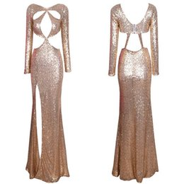 $enCountryForm.capitalKeyWord Australia - Women Elegant Gold Sequin Cut Out Celebrity Style Maxi Dress Gown Sexy Long Sleeve Shiny Slimming Party Dresses W850314