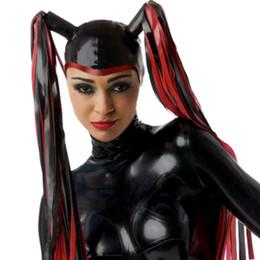 Fetish Cosplay Canada - New Handmade Customized Latex Hoods With Tress Wig Hair Open Face Fetish Mask Heroine Hood Cosplay Women Headgear Zentai