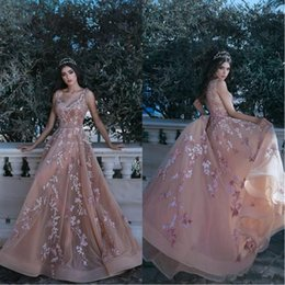 $enCountryForm.capitalKeyWord NZ - Dusty Pink V Neck Sleeveless Prom Dresses 2018 A Line Tulle Embroidery Lace Beaded Sash Pageant Evening Gowns For Arabic