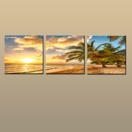 Art Canvas Prints Australia - Framed Unframed Large Contemporary Wall Art Print On Canvas Hawaii Palm Tree Beach Sunset Glow Landscape 3 pieces Picture Home Decor abc242