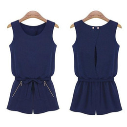 Overalls Jumpsuits For Women NZ - Feitong 2016 Summer Women Casual Sleeveless Jumpsuit Fashion Sexy Bowknot Short Pants Romper Playsuit Overalls For Women rompers