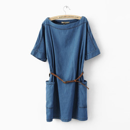 aae9d6858160 2018 Women s Jeans Mini Denim Dresses Solid Casual Short Sleeves Tunic Dress  With Belt Summer Cowboy Female Vestidos Plus Size Y1890703