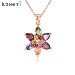 $enCountryForm.capitalKeyWord UK - LUOTEEMI New Rose Gold Color Multi Cubic Zirconia Stone Flower Pendant Necklaces For Women Fashion Jewellery Christmas Gift