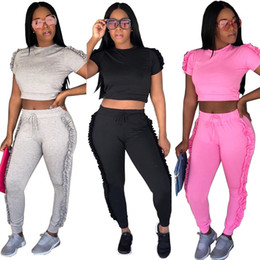 $enCountryForm.capitalKeyWord Canada - Summer Women Tracksuits Two Piece Sets Fashion Casual Side Ruffle Crop Top and Long Pants Ladies Sweat Suits Jogger Leisure Suit