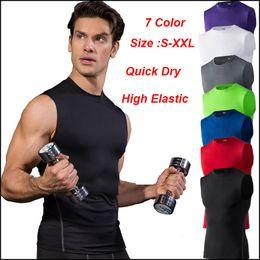 Ingrosso Maglia da allenamento Quick Dry Training da allenamento Canotta da allenamento Fitness Tights Gym Men Sport Suit T-shirt da uomo senza maniche