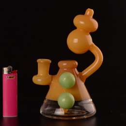 nice bongs 2019 - Mini glass bubbler beaker pipe bong NICE COLOR with 14mm male bowl piece bongs pipes AS18