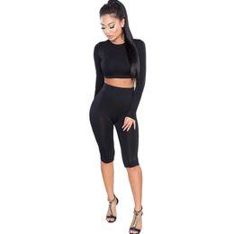 7913ae87552a Top Fashion Women Two Piece Bodysuit Plus Size Leggings Slim Fitness Long  Sleeve Crop Tops Bodycon Jumpsuit Romper