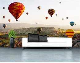 hot air balloon wall stickers UK - custom 3d photo wallpaper mural living room hot air balloon landscape 3d painting sofa TV background wall non-woven wall sticker