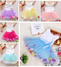 Purple Rose Clothing Canada - Babies clothes Princess girls flower dress 3D rose flower baby girl tutu dress with colorful petal lace dress Bubble Skirt baby clothes