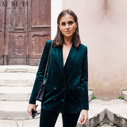 Custom Made Dark Green Women Business Suits Velvet Formal Office Uniform  Style Slim Fit Work Wear 2 Piece Sets Double Breasted 01f30a954283