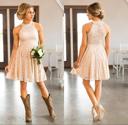 Navy boho bridesmaid dress online shopping - 2019 Cheap Short Lace Country Cowgirls Bridesmaids Dresses Pearls Halter Neck Knee Length Boho Beach Maid of Honor Wedding Guest Party Dress