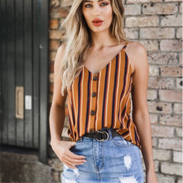 a20781c35c Pottis Top Women Off Shoulder Halter Top Female Camisole Summer 2018  Spaghetti Strap Sexy Sleeveless Vest Striped Tank Tops