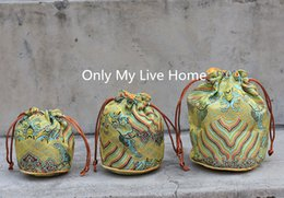 $enCountryForm.capitalKeyWord Australia - Wave Round Bottom Drawstring Bucket Bag Women High Quality Chinese Silk Brocade Jewelry Pouch Small Fabric Bags for Gift 10pcs lot