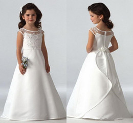 gold satin sashes for wedding dresses NZ - 2020 Simple Flower Girls Dresses For Wedding Cap Sleeves Satin Floor Length Custom Made Jewel A-line First Communion Dresses For Girls Cheap