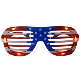 Glow Party Decorations UK - Free Shipping Funny Holiday Gifts Flashing Party Christmas LED Glasses American Flag Blinds Glowing Glasses Luminous Toys For Adults