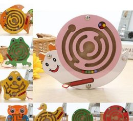 $enCountryForm.capitalKeyWord NZ - Kids educational Wooden Magnetic Maze Board Puzzle Toy gift Frog Snail Shape Mini Metal Balls Moving Labyrinth Intellectual Jigsaw Board Toy