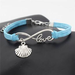 $enCountryForm.capitalKeyWord NZ - Blue Woven Leather Suede Bracelets & Bangles Luxury Alloy Infinity Love Sea Shell Conch Seashell Women Men Charm Customed Jewelry Pulseiras
