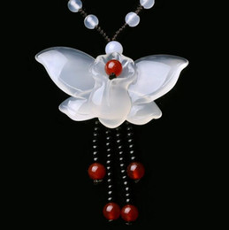 Best Wedding Pendant Australia - yuan Fine Jewelry Natural Jade Medullary Necklace Pendant Carved Butterfly Lucky Best Wishes Women Men Jewelry
