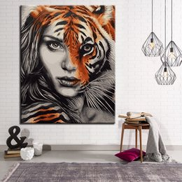 $enCountryForm.capitalKeyWord Australia - DIY Oil Painting By Numbers Abstract Coloring Half Tiger's Face Half Woman's Face Canvas Pictures Hand Paint Home Decor Wall Art