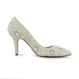 dfc5f09556 Luxury Glass Diamond Ladies Shoes Custom Make pearl Dress Shoes Party High  Heels 2018 Summer Hot Sale Drop Shipping 8CM