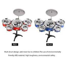 Venta al por mayor de Plug Size Lightweight Mini Kids Kids Practicing Drum Instrument Set de batería portátil de acero inoxidable ABS con silla