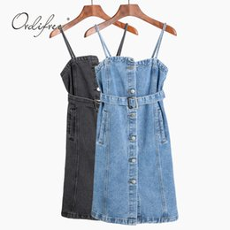 4a4c461816 Spaghetti Strap denim dreSS online shopping - Ordifree Summer Women Jeans  Dress Denim Overalls Sundress Casual