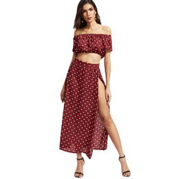 Wholesale sexy red polka dot dress resale online - Vintage Red Polka Dot Women Sets Maxi Dresses Crop Tops Sexy Off Shoulder Ladies Chiffon Ruffle Cropped Beach Split Skirts