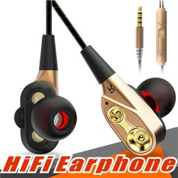 Discount wireless headphones mic for phone - Double Unit Drivers headphones In Ear earphone Bass Subwoofer Stereo With Mic Sport HIFI earbuds gaming headset For ipho