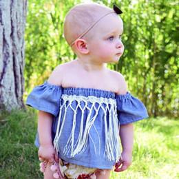 dc0917b332e1 Newborn Kids Baby Girl Summer Denim Off Shoulder Falbala Short Sleeve T-Shirt  Tops tassel tank tops
