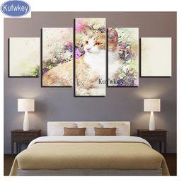 "$enCountryForm.capitalKeyWord UK - Wall sticker,diamond embroidery 5 Pieces ""Cat And Flowers""3d diamond painting full mosaic picture of rhinestone cross stitch art"