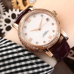 Discount water resistant gold - Oemga diamond watch womens watches luxury watch 316L fine steel waterproof fashion automatic mechanical watch wholesale