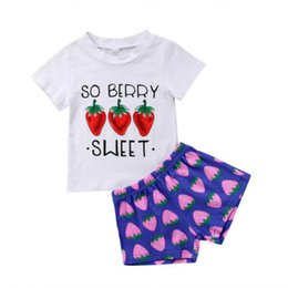 $enCountryForm.capitalKeyWord UK - Cotton Casual Kid Girls Clothes Summer Printed 2PCS Kids Baby Girl Sweet Top T-shirt+Strawberry Pants Shorts Outfit Set