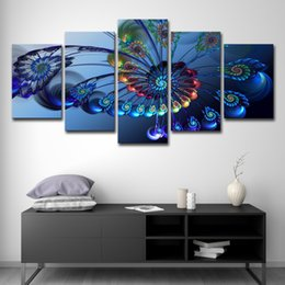 $enCountryForm.capitalKeyWord Australia - HD Prints Pictures Living Room Decor 5 Pieces Bule Butterfly Flowers Canvas Paintings Wall Art Peacock Feather Posters