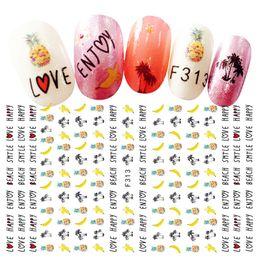 Summer Decor Canada - 2Sheet Ultrathin Fruits Nail Art Stickers 3d Self-adhesive Kawaii Manicure Decals Nails Design Summer Banana Pineapple Decors