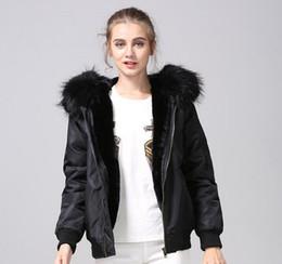 $enCountryForm.capitalKeyWord Australia - fashion nylon jackets Meifeng brand black raccoon fur trim ladies snow coats black rabbit fur inside black bomber parka
