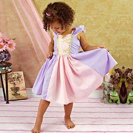 Organza Cosplay Dress NZ - Girls bowknot princess dress short slevee skirt girls tutu tulle dresses printed skirt for girl cosplay birthday clothes