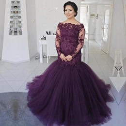 $enCountryForm.capitalKeyWord Australia - Grape Purple Mermaid Mother Of The Bride Dresses Lace Sheer Long Sleeves Plus Size Mother 's Dress Tulle Sweep Train Prom Evening Gowns