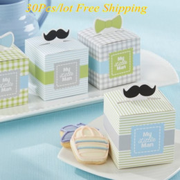 $enCountryForm.capitalKeyWord NZ - 30Pcs lot Adorable Baby decorative box with Mini mustaches and dapper Bows For Baby boy Candy boxes and baby party favor box