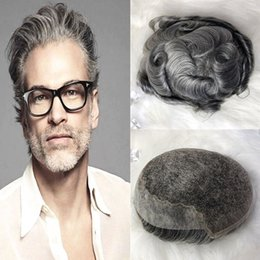 Skin Lace Human Hair Wigs NZ - Mens Grey Toupee Wig 1B65 French Lace Men Toupee Replacement System Natural Hair Lace Front With Skin Pu Human Hair Toupee For Men