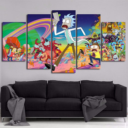 Background Prints Australia - Poster HD Wall 5 Pieces Cartoon Rick And Morty Canvas Painting Fashion Modular Art Prints Pictures Bedside Background Home Decor