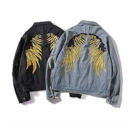 wing jeans UK - Spring Men Hip Hop Jeans Coats Men Gold Wing Embroidery Jacket Denim Ripped Hole Denim Jackets Streetwear