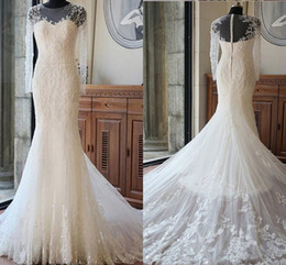 unique mermaid wedding dress train 2019 - Sexy Long Sleeves Mermaid Lace Wedding Dresses Sheer Neck Unique Back Design Bridal Gowns Sweep Train discount unique me